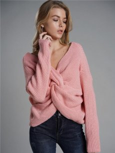 Womens Knit Sweater Jumper V Neck Backless Cross Solid Color Pullover