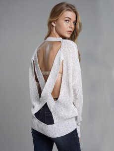 Beige Backless Knit Sweater