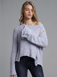 Womens Knit Sweater Jumper Tassel Hole Loose Solid Color Pullover