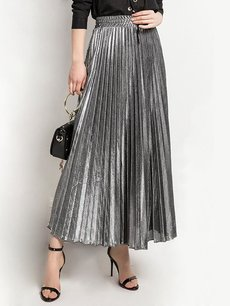 Solid Long Maxi Swing Skirt