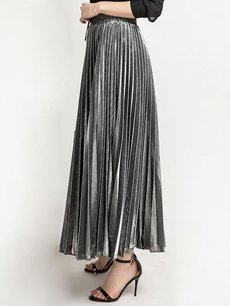 Solid High Waist Pleated Long Cotton Skirt