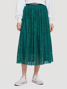 Solid Pleated Lace Long Skirt