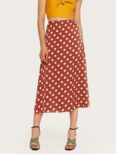 Womens Maxi Long Skirt Vintage Polka Dots Print Slit High Waist Bodycon Skirt