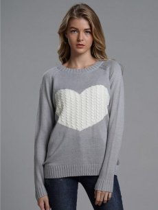 Womens Knit Sweater Jumper Heart Print Loose Pullover