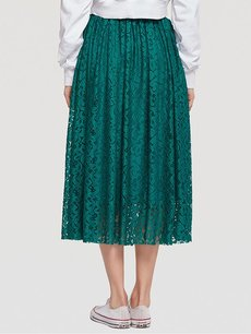 Womens Maxi Long Skirt Vintage Solid Color Pleated Lace Skirt