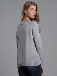 Solid Heart Knit Sweater