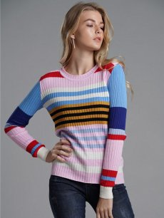 Womens Knit Sweater Jumper Rainbow Stripes Print Pullover