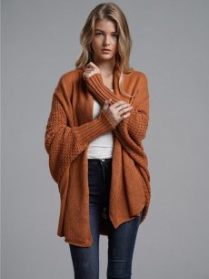 Womens Knit Cardigan Batwing Sleeve Solid Color Loose Sweater