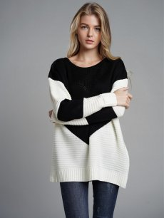 Color Block Knit Jumper Sweater