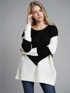 Womens Knit Sweater Jumper Color Block Loose Pullover