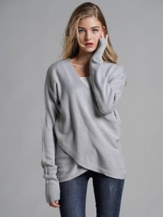 Womens Knit Sweater Jumper V Neck Cross Pullover