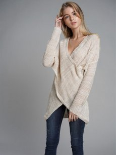 Womens Knit Sweater Jumper V Neck Cross Solid Color Loose Pullover