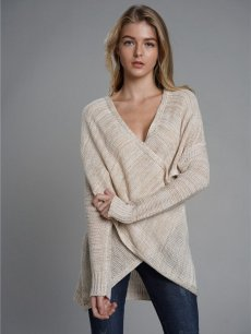 Solid Cross Front Knit Sweater