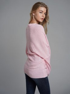 Solid V Neck Cross Knit Sweater