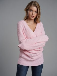 Womens Knit Sweater Jumper V Neck Cross Solid Color Pullover