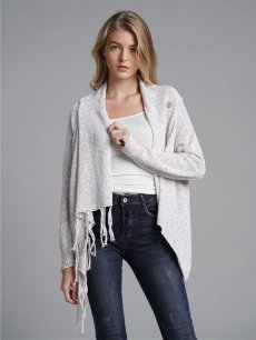 Womens Knit Cardigan Tassel Solid Color Loose Sweater