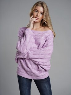 Womens Knit Sweater Jumper Boat Neck Batwing Sleeve Mohair Pullover