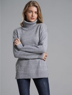 Womens Knit Sweater Jumper High Neck Solid Color Loose Pullover