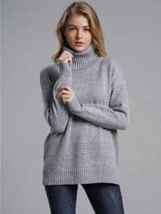 High Neck Solid Jumper Sweater