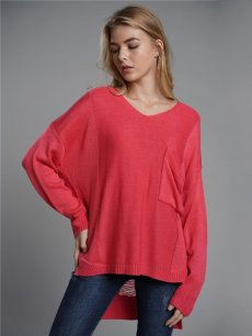 Red V Neck Loose Knit Sweater