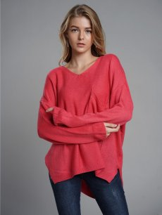 Womens Knit Sweater Jumper V Neck Irregular Hem Loose Pullover With Pockets