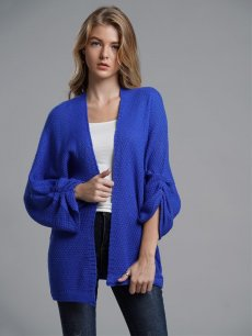 Solid Knit Cardigan Sweater