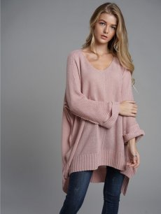 Pink V Neck Slit Side Knit Sweater