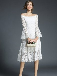 Vinfemass Boat Neck Flare Sleeve Lace Party Dress