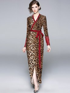 Vinfemass V-neck Leopard Printing Lacing Long Evening Dress