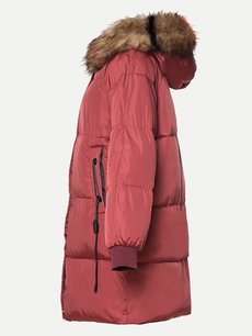 Solid Faux Fur Hooded Puffer Down Coat