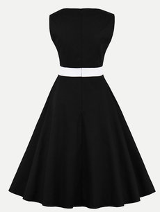 60s Heart Neck Sleeveless Swing Party Dress