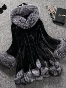 Vinfemass Color Block Loose Thick Faux Fox Fur Coat