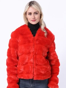 Red Faux Fur Teddy Coat