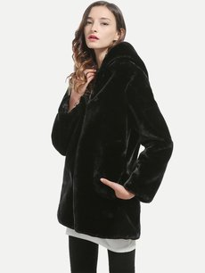 Vinfemass Thick Solid Color Zipper Hooded Faux Rabbit Fur Coat