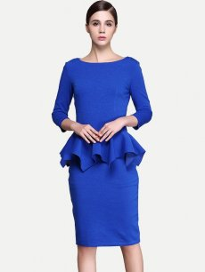 Blue Long Sleeve Ruffle Business Work Dress