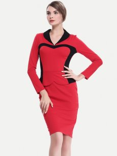 Womens Business Dress Work Office Pencil V Neck Long Sleeve Color Block Knee Length Midi Dress