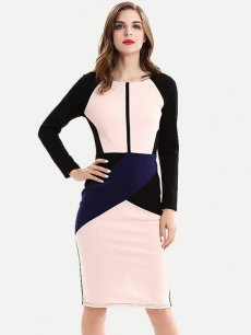 Color Block Geometric Work Pencil Dress