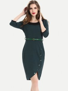 Womens Business Dress Work Office Pencil Long Sleeve Solid Color Knee Length Midi Dress With Belt
