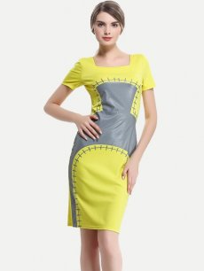 Womens Business Dress Yellow Work Office Pencil Square Neck Print Knee Length Midi Dress With Sleeves