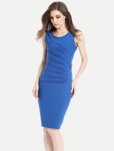 Womens Business Dress Work Office Pencil Solid Color Pleated Sleeveless Knee Length Midi Dress