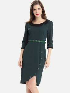 Solid Belted Work Pencil Dress
