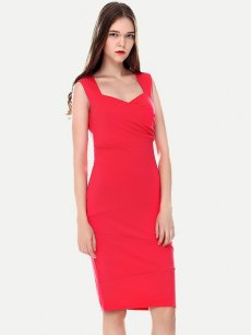 Womens Business Dress Red Work Office Pencil Square Collar Pleated Sleeveless Knee Length Midi Dress