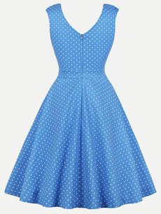 60s Blue Polka Dots Sleeveless Swing Dress