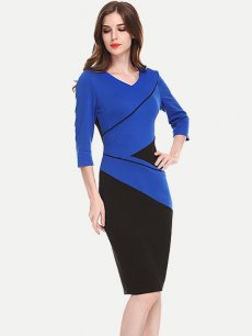 Womens Business Dress Blue Work Office Pencil V Neck Color Block Long Sleeve Knee Length Midi Dress