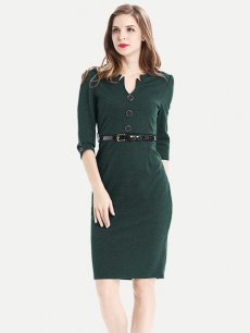 Solid Belted Business Work Wear Dress