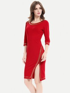 Womens Business Dress Work Office Pencil Solid Color Long Sleeve Beads Split Knee Length Midi Dress