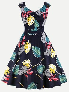 60s Black Leaves Sleeveless Swing Dress