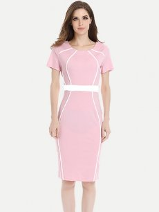 Womens Business Dress Work Office Pencil Color Block Striped Knee Length Midi Dress With Sleeves