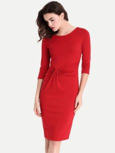 Red Pleated Work Office Pencil Dress
