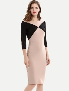 Womens Business Dress Work Office Pencil Geometrical Print Color Block Long Sleeve Knee Length Midi Dress